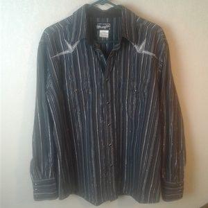 Wrangler Western Rodeo Shirt Pearl Snap Metallic